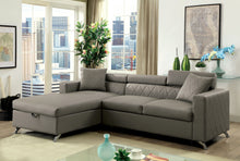 Tavo Contemporary Tufted Leatherette Gray Chaise Sectional
