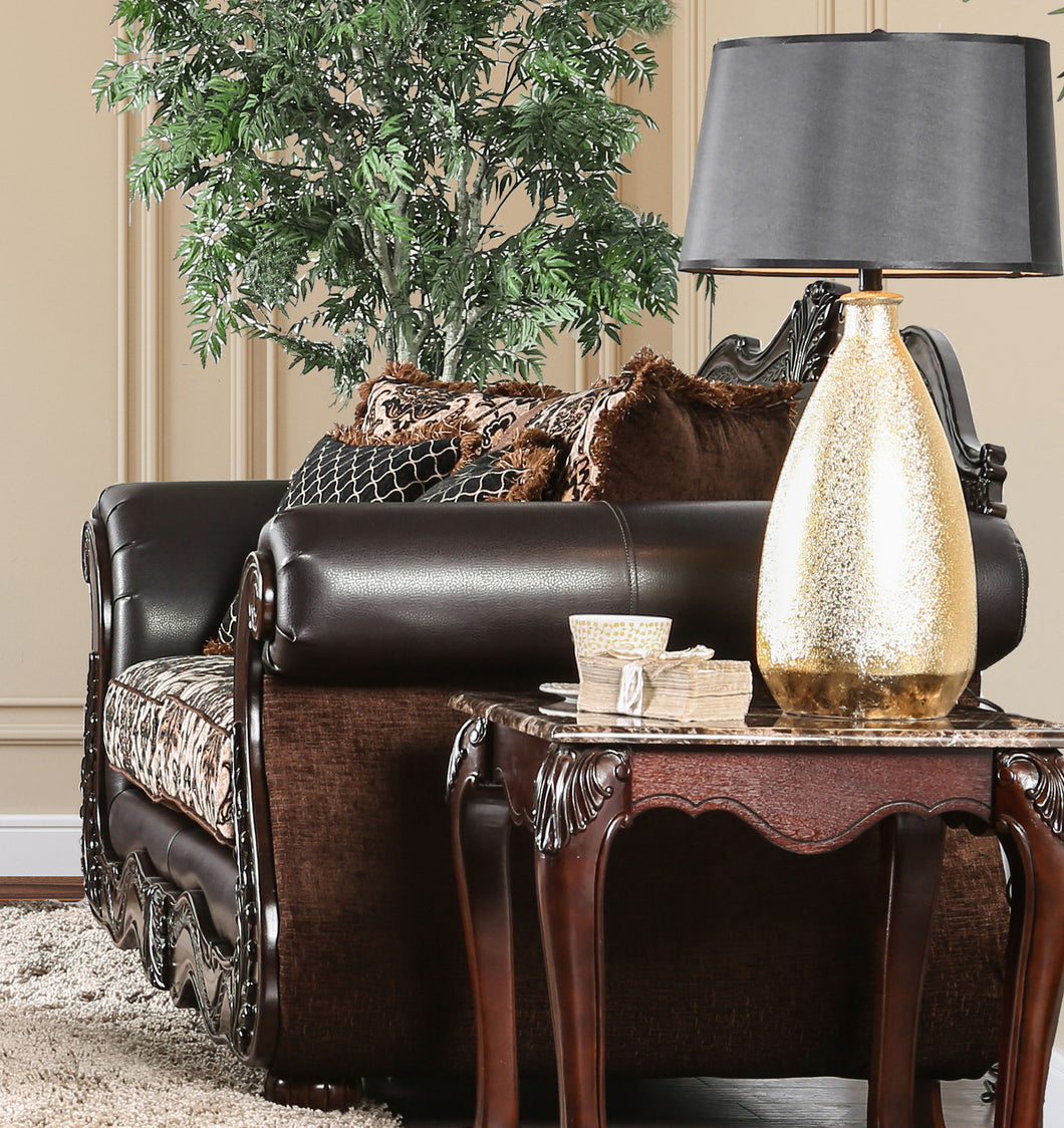 Delany Traditional Brown Fabric and Leatherette Loveseat with Pillows