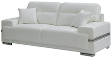 Virdianna Contemporary Breathable Leatherette Silver Trim Sofa