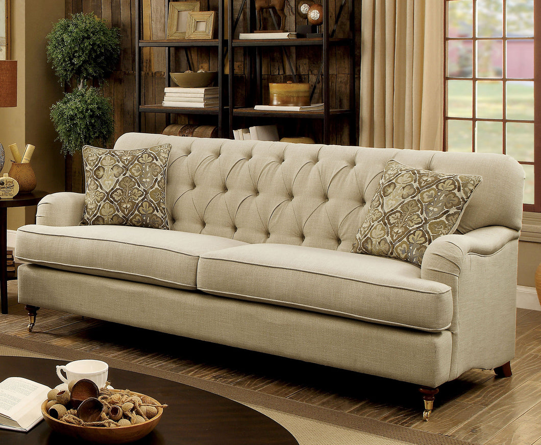Aurora Traditional Sofa with Caster Wheels, Beige