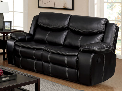 Orlando Transitional Leatherette Plush Loveseat Recliner, Black