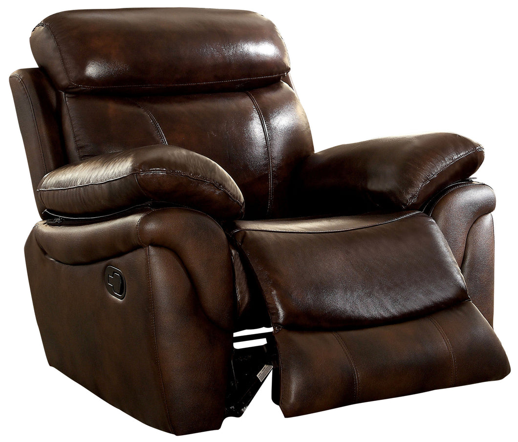 Sienna Plush Brown Bonded Leather Match Recliner Chair