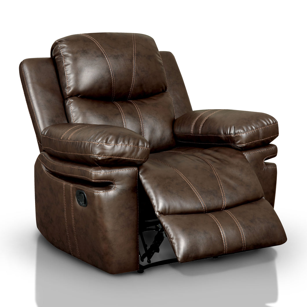 Floran Brown Leatherette Upholstered Recliner