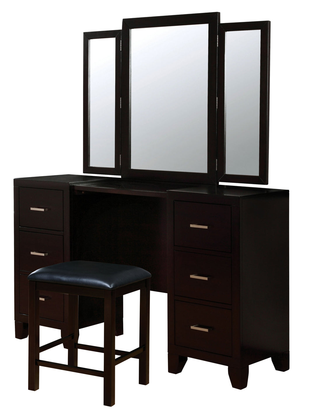 Covington Contemporary 3-Sided Mirror Espresso Vanity and Stool Set