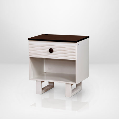 Acarri Transitional White and Walnut 2-Drawer Youth Nightstand