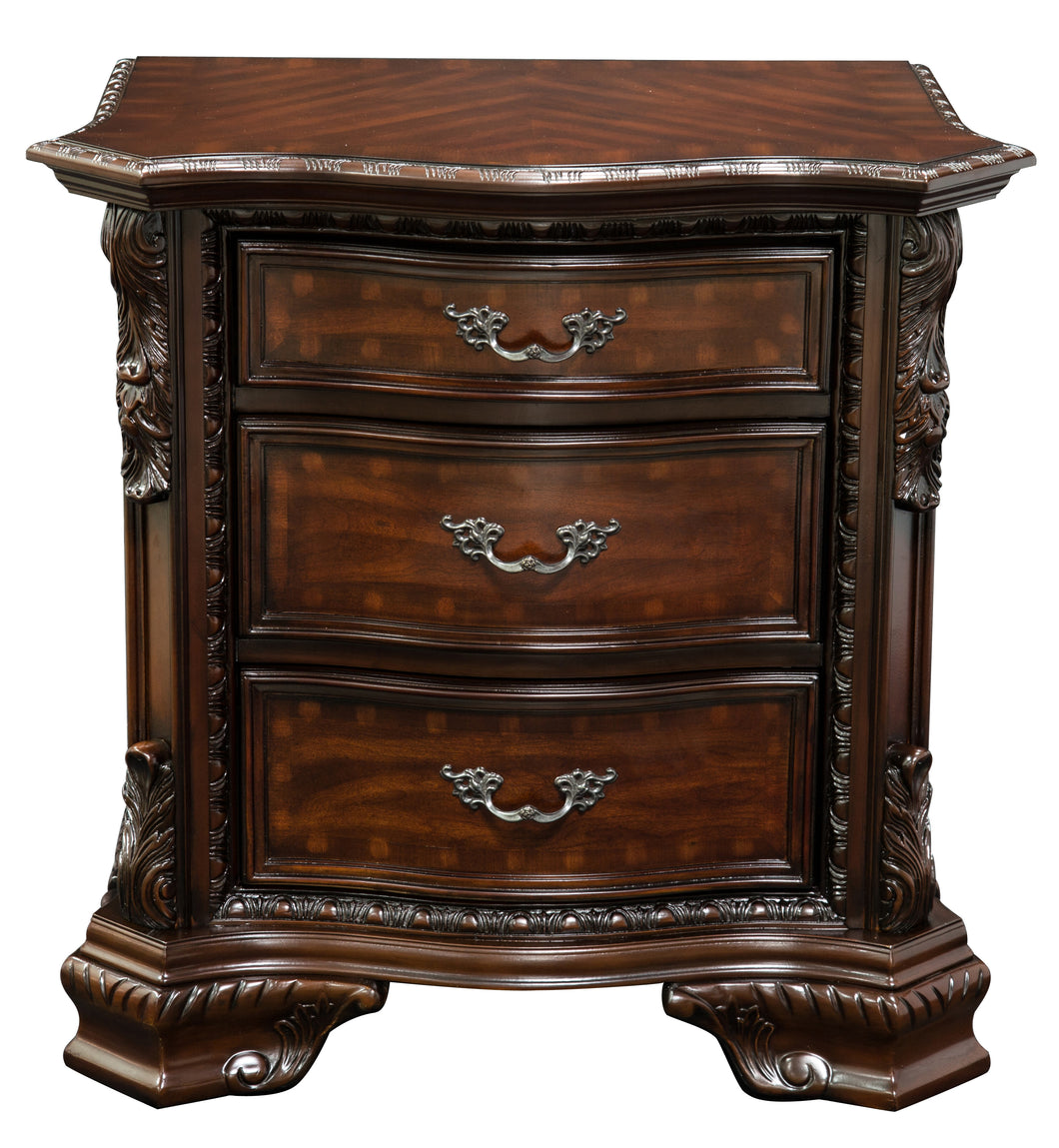 South Yorkshire Baroque Style Brown Cherry Nightstand