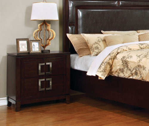 Collette Transitional Brown Cherry Nightstand