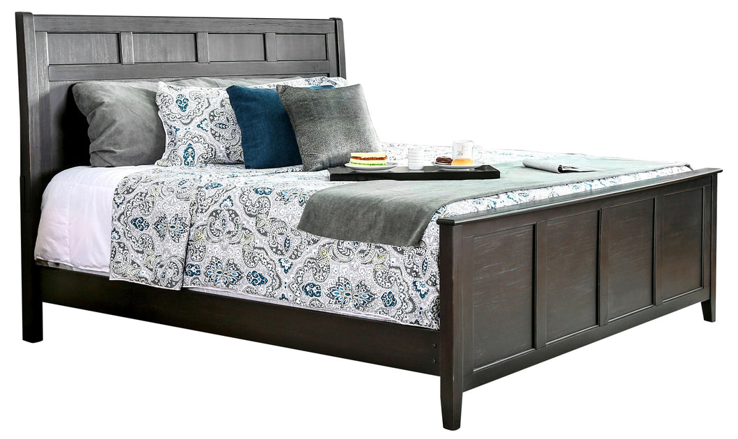 Dalotti Transitional Carved Panel Bed Frame, Wire Brushed Black