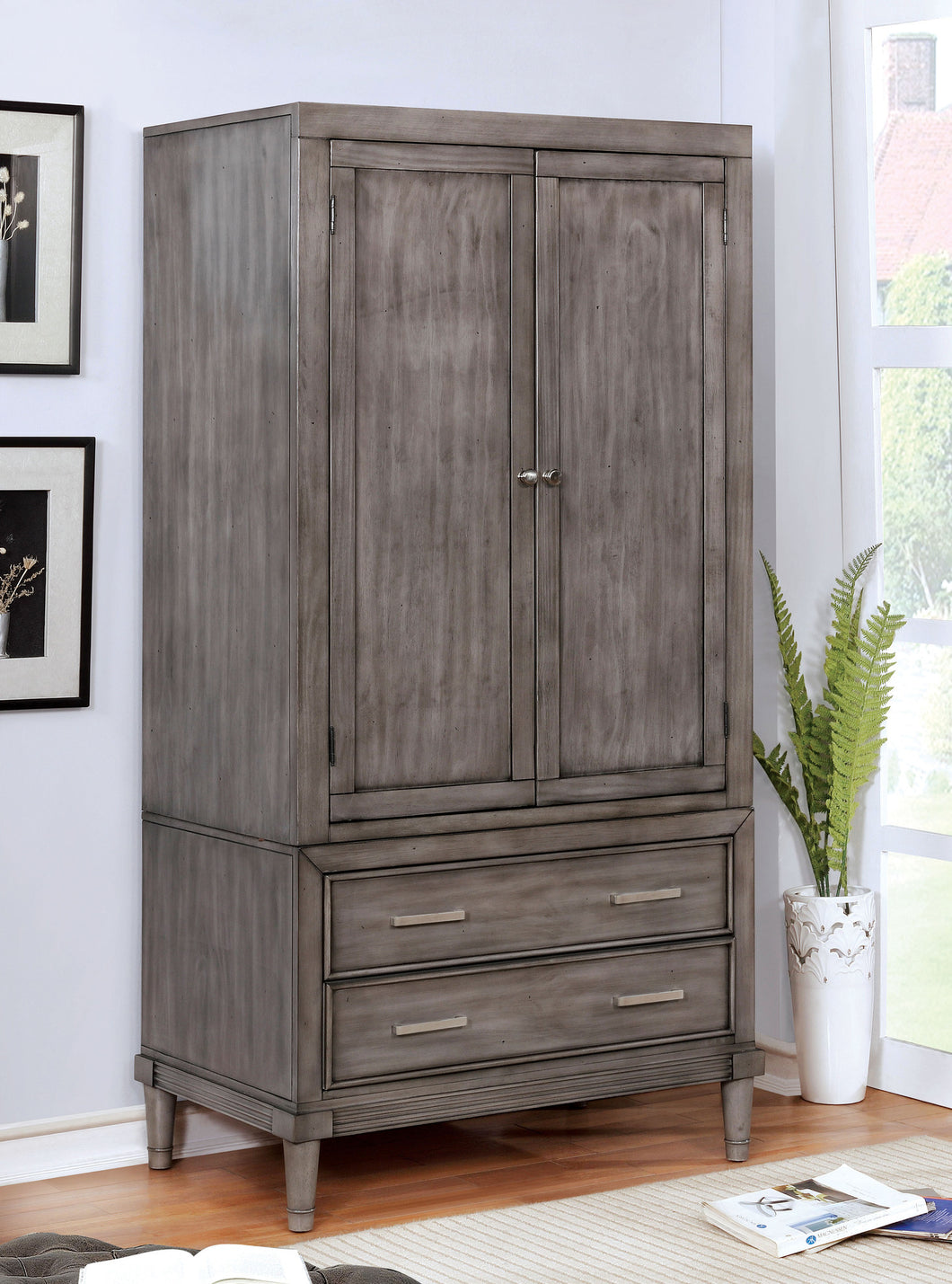 Bahamas Transitional 2-Drawer Gray Armoire