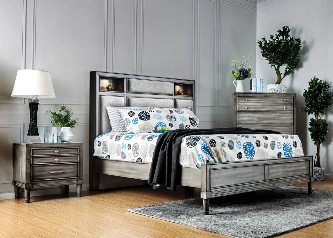 Bahamas Transitional 2-Piece Bookcase Headboard Bed with Nightstand Set