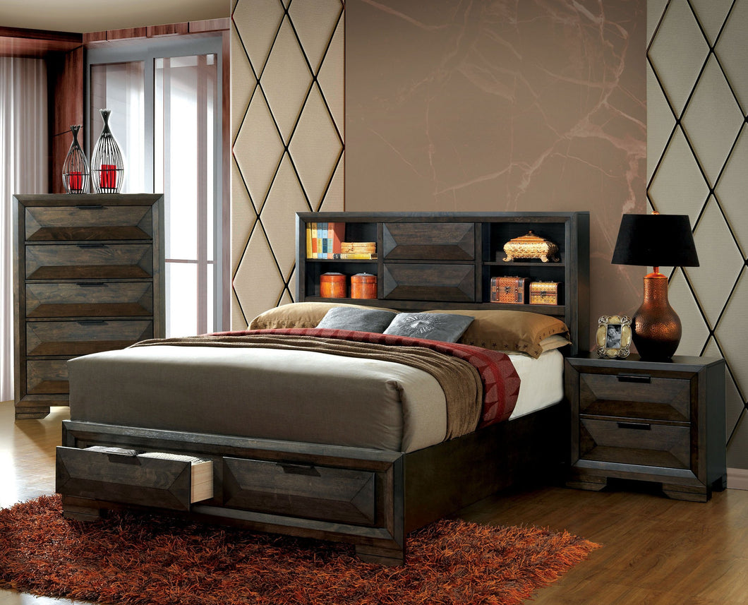 Shirley Contemporary 3-Piece Bookcase Headboard Storage Bedroom Set