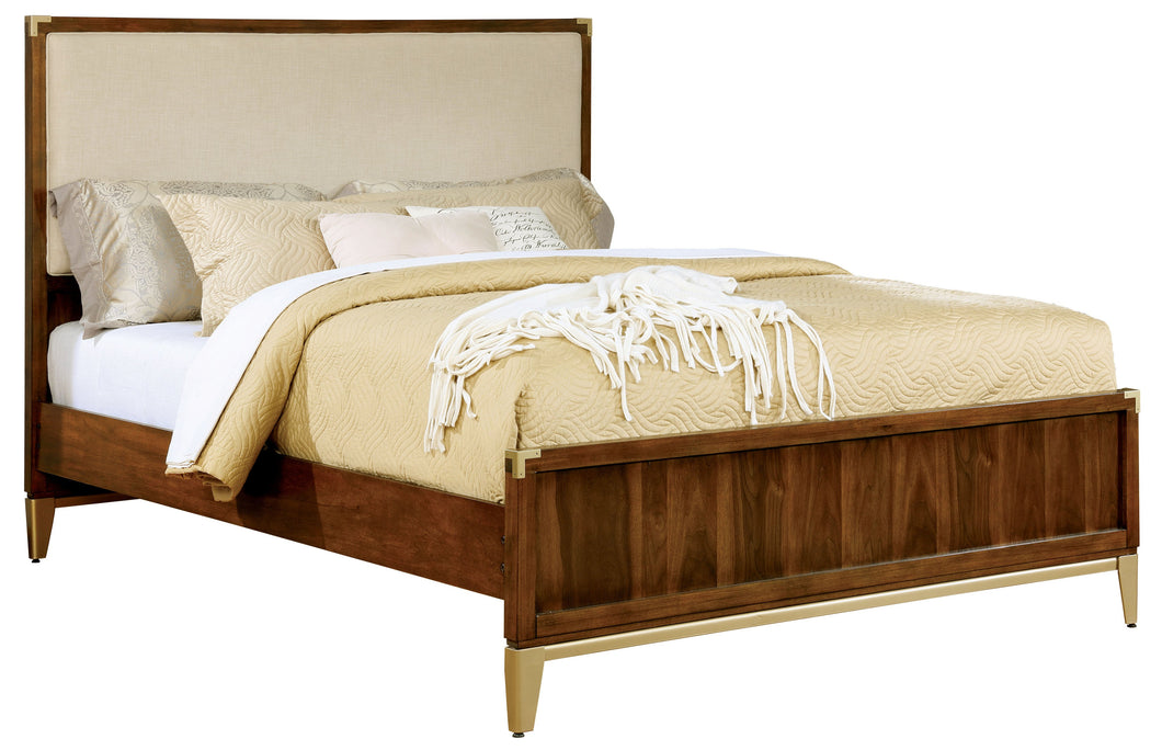 Jamison Transitional Fabric Padded Headboard Dark Oak Bed