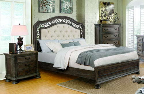 Analla Transitional 2-Piece Rustic Natural Tone Bedroom Set