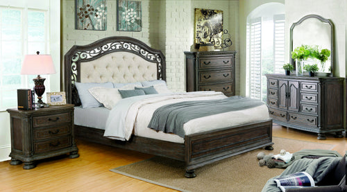 Analla Transitional 4-Piece Rustic Natural Tone Bedroom Set