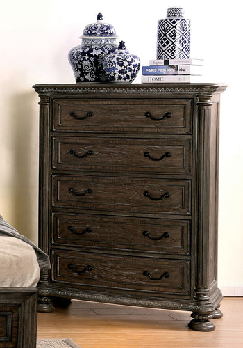 Analla Transitional 5-drawer Chest, Rustic Natural Tone