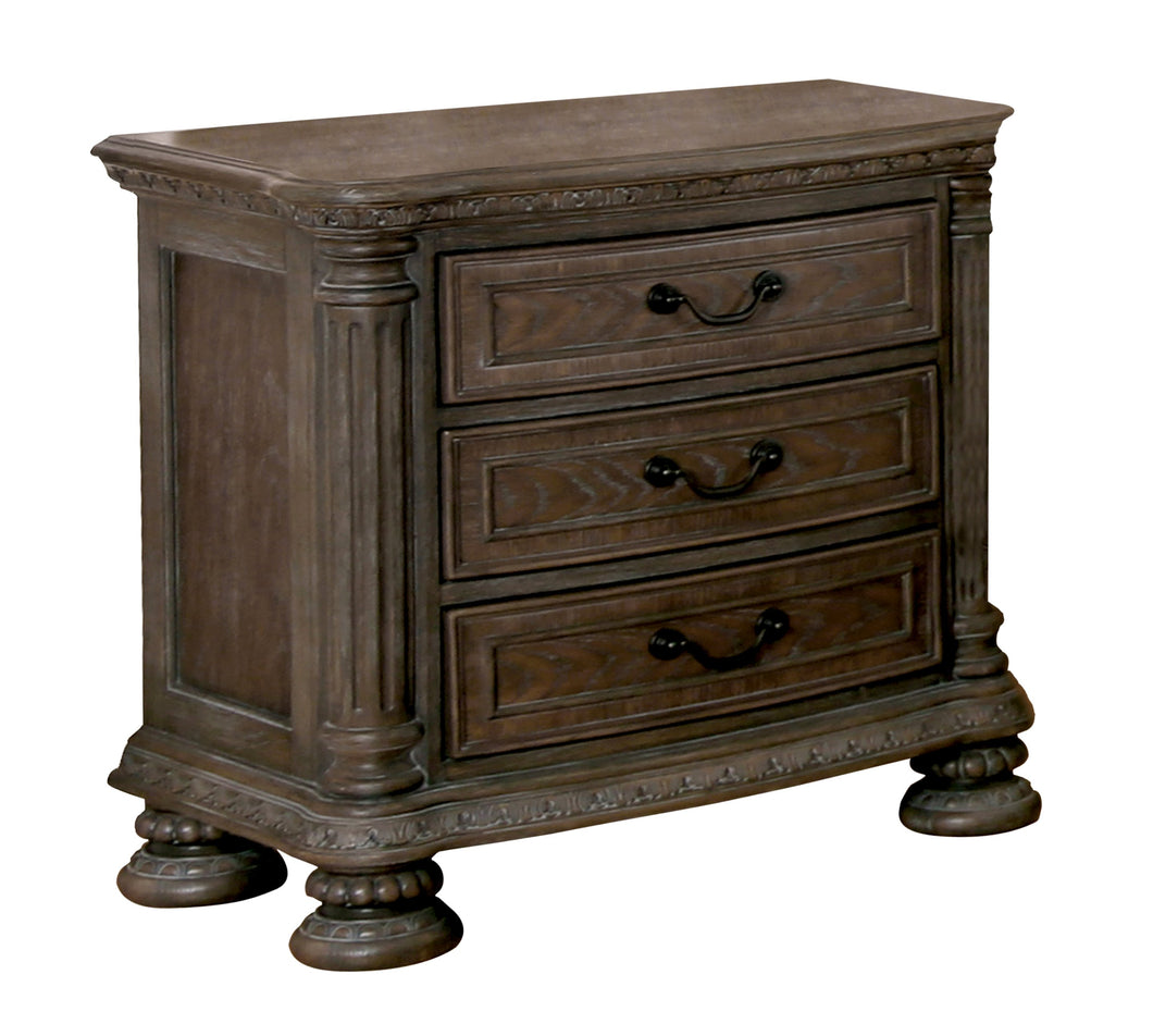 Analla Traditional Intricate Wood Carved Rustic Natural Tone Nightstand