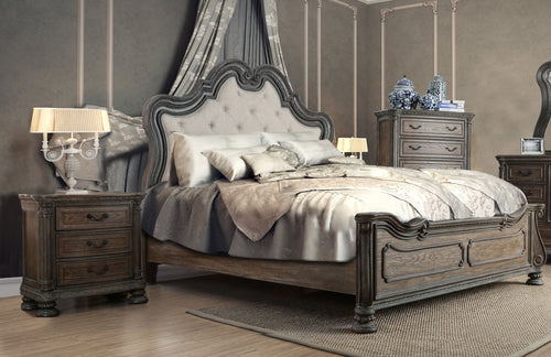 Jolie Traditional 3-Piece Ornate Natural Tone Bedroom Set