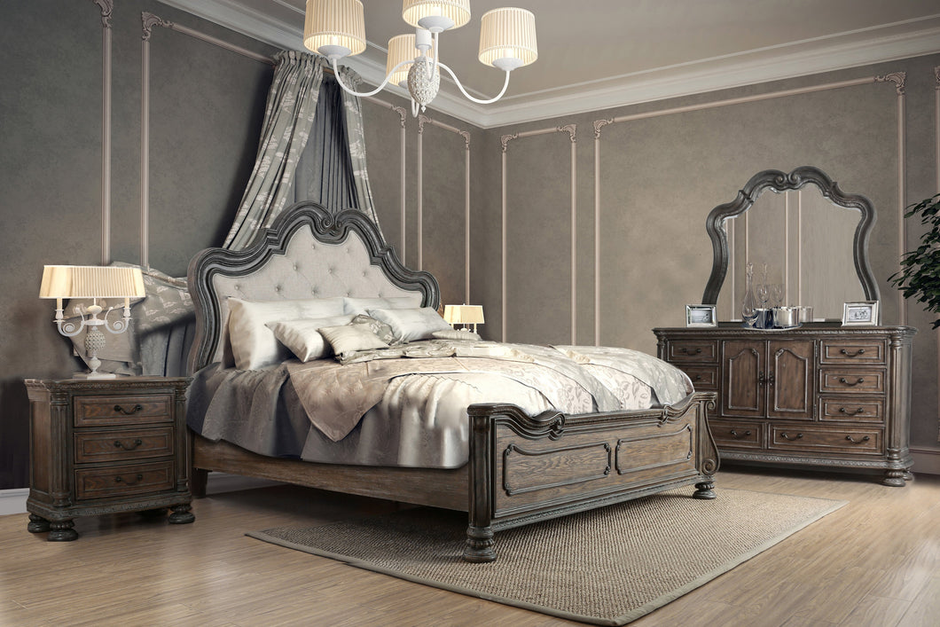 Jolie Traditional 4-Piece Ornate Natural Tone Bedroom Set