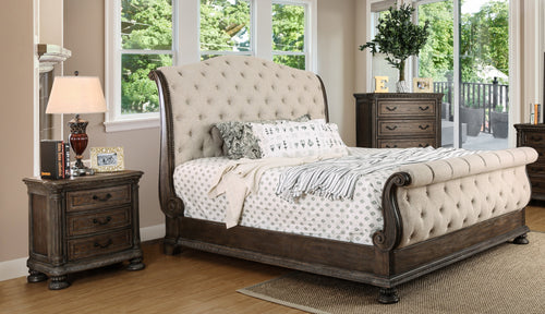 Clarissa Transitional 3-Piece Rustic Natural Sleigh Bedroom Set
