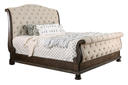 Clarissa Transitional Button Tufted Sleigh Bed Frame, Rustic Natural Tone