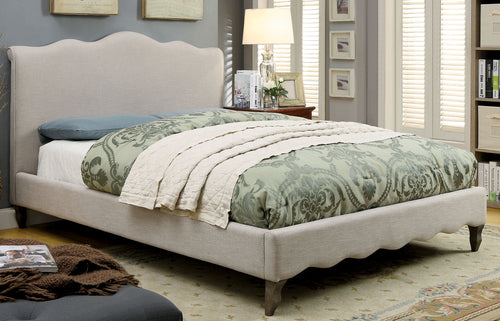 Ashley Contemporary Wavy Design Fabric Platform Bed, Beige