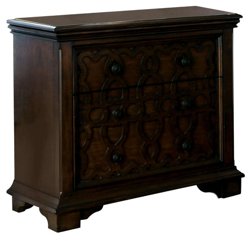Emmaline Walnut 3-Drawer Wood Inlay Panel Nightstand