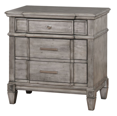 Frenchie Transitional Grey 3-Drawer Nightstand