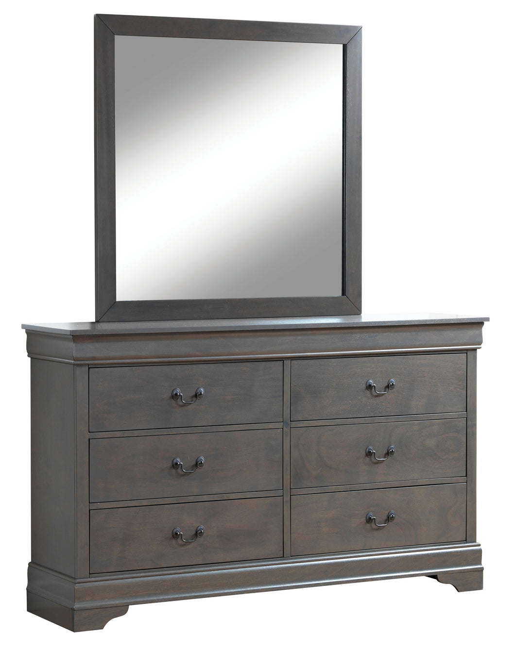 Sina Contemporary 6 Drawer Gray Mirror and Dresser Set