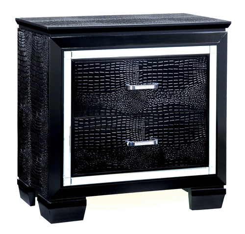 Amadeo Contemporary Crocodile Textured Nightstand