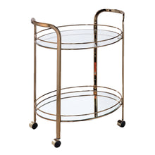 Reilla Champagne Oval Shape Mirror Serving Cart