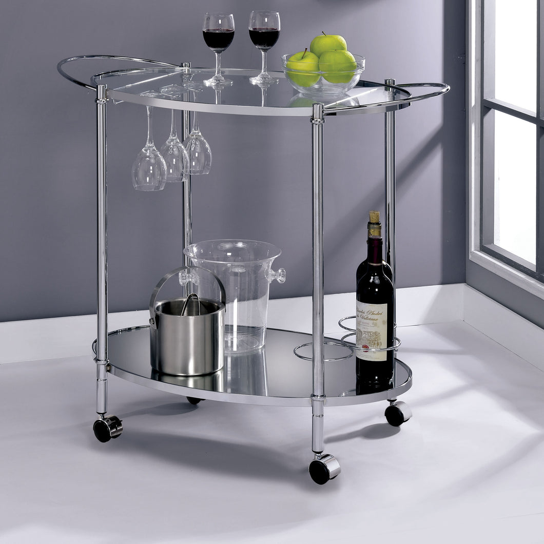 Stephenson Contemporary Chrome Serving Cart