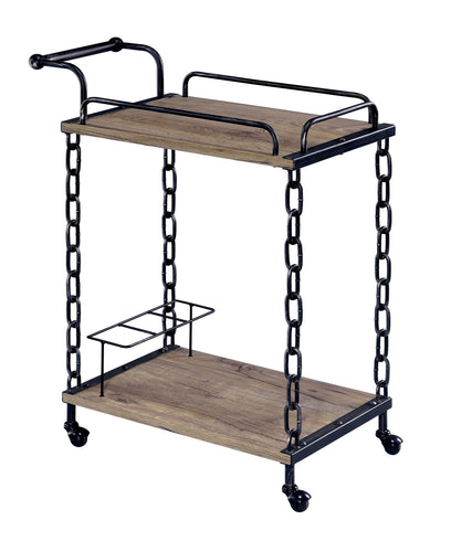 Madesma Industrial Black Chain Link Kitchen Serving Cart