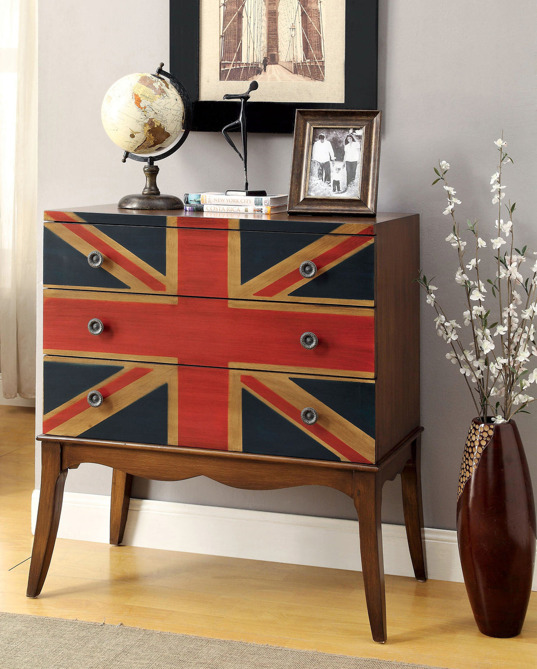 Pyra Brown Flag Print Hallway Chest