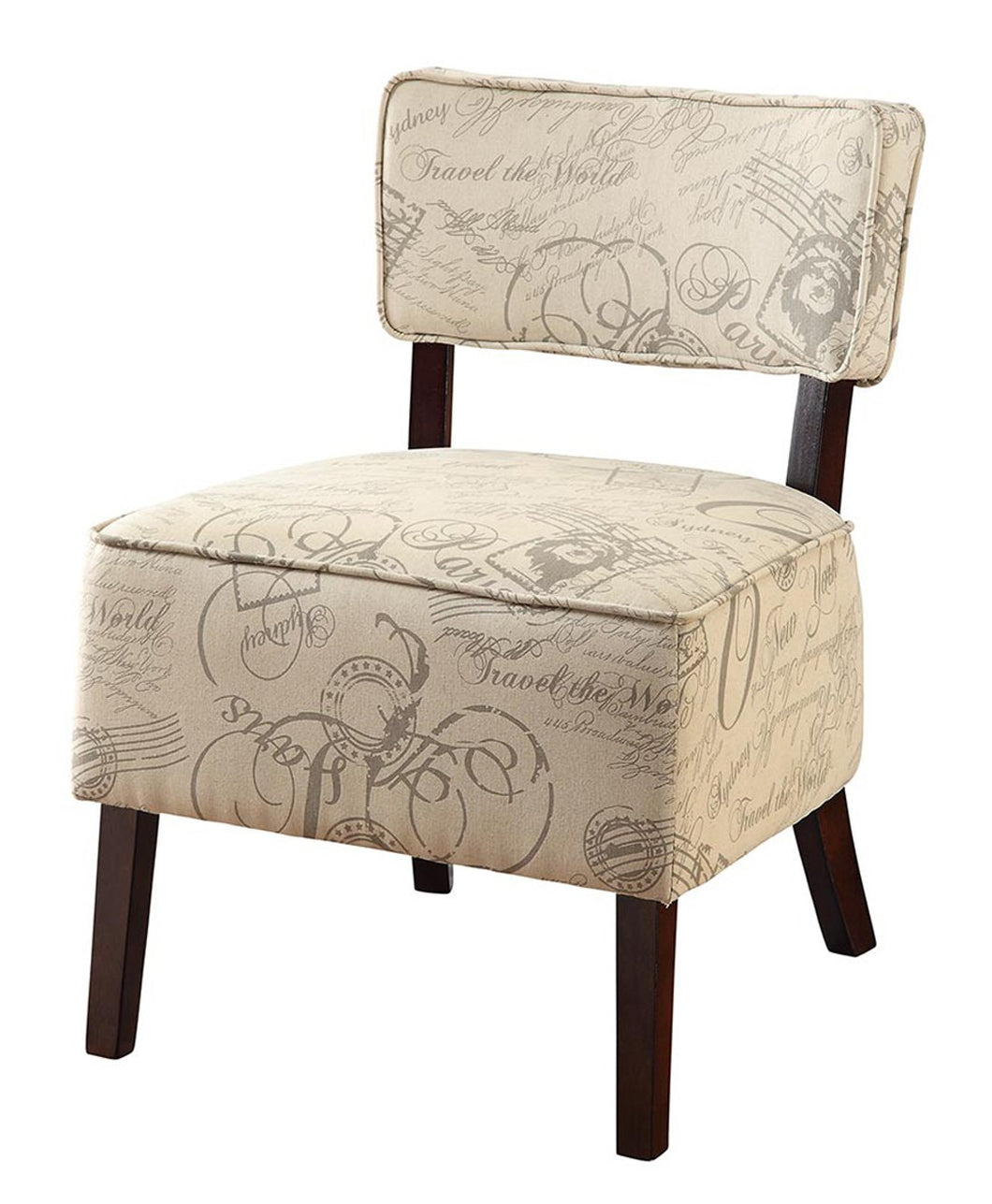 Valhalla Contemporary Ivory Script Espresso Accent Chair