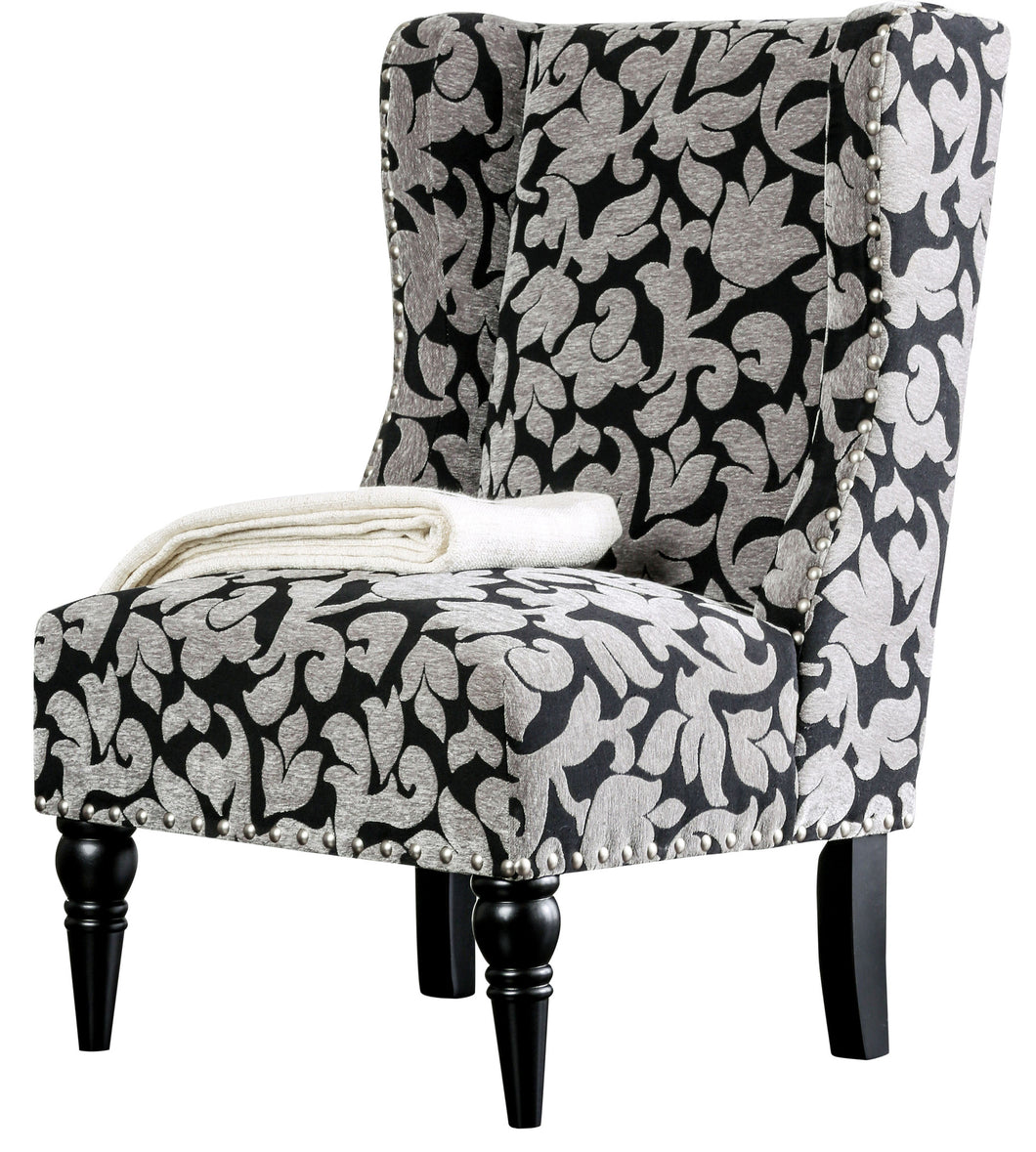 Florah Contemporary Printed Fabric Accent Chair