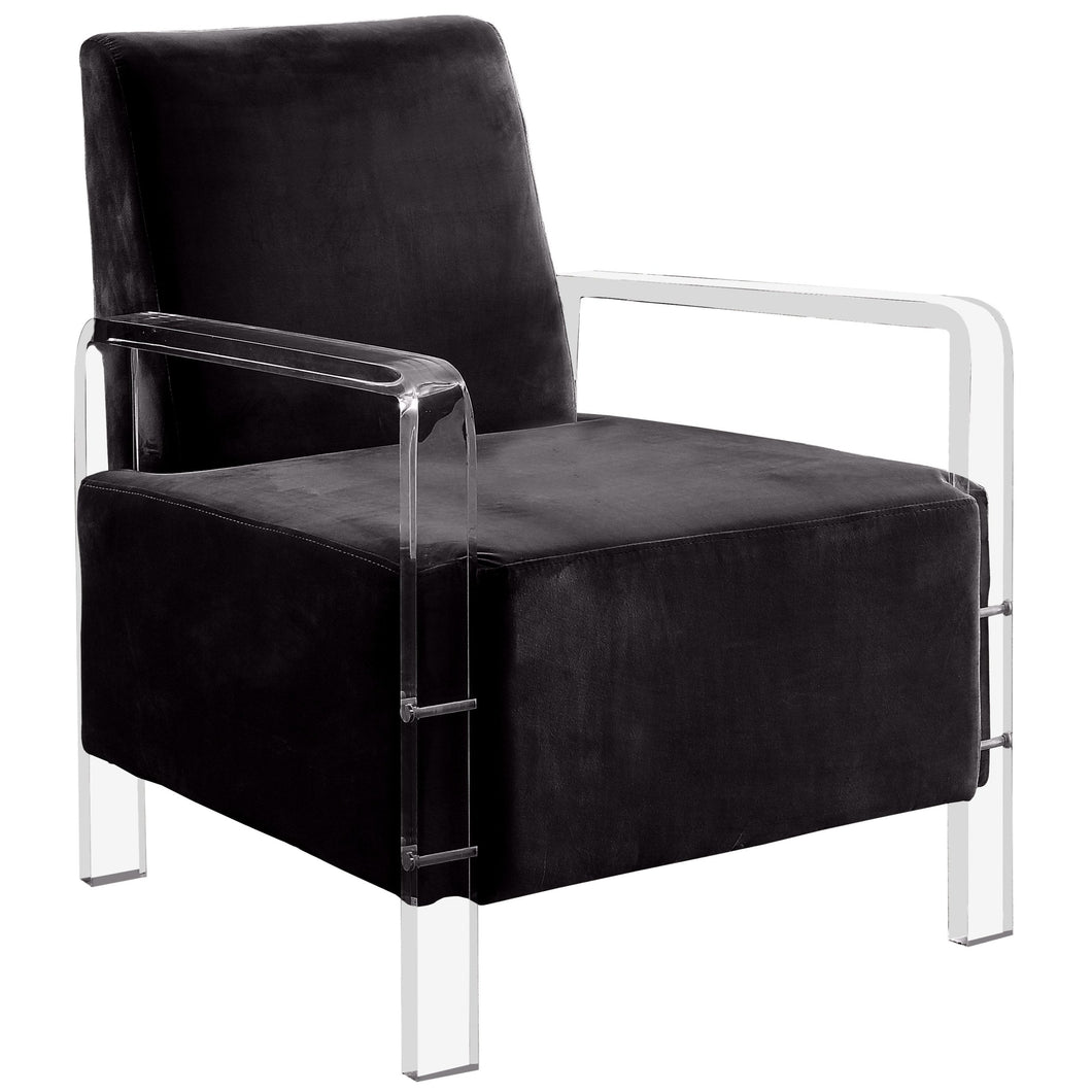 Damessi Contemporary Acrylic Frame Flannelette Accent Chair