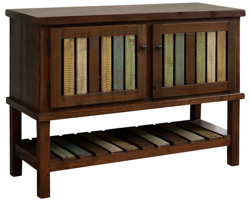 Sessy Transitional Slatted Brown Cherry Storage Cabinet
