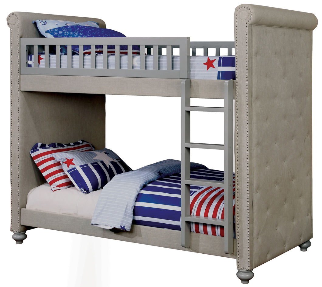 Ferynna Transitional Elegant Twin over Twin Bunk Bed, Gray