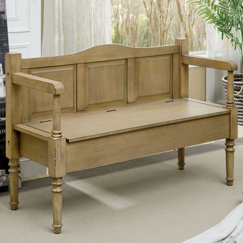 Goldenrod Transitional Weathered Natural Storage Bench