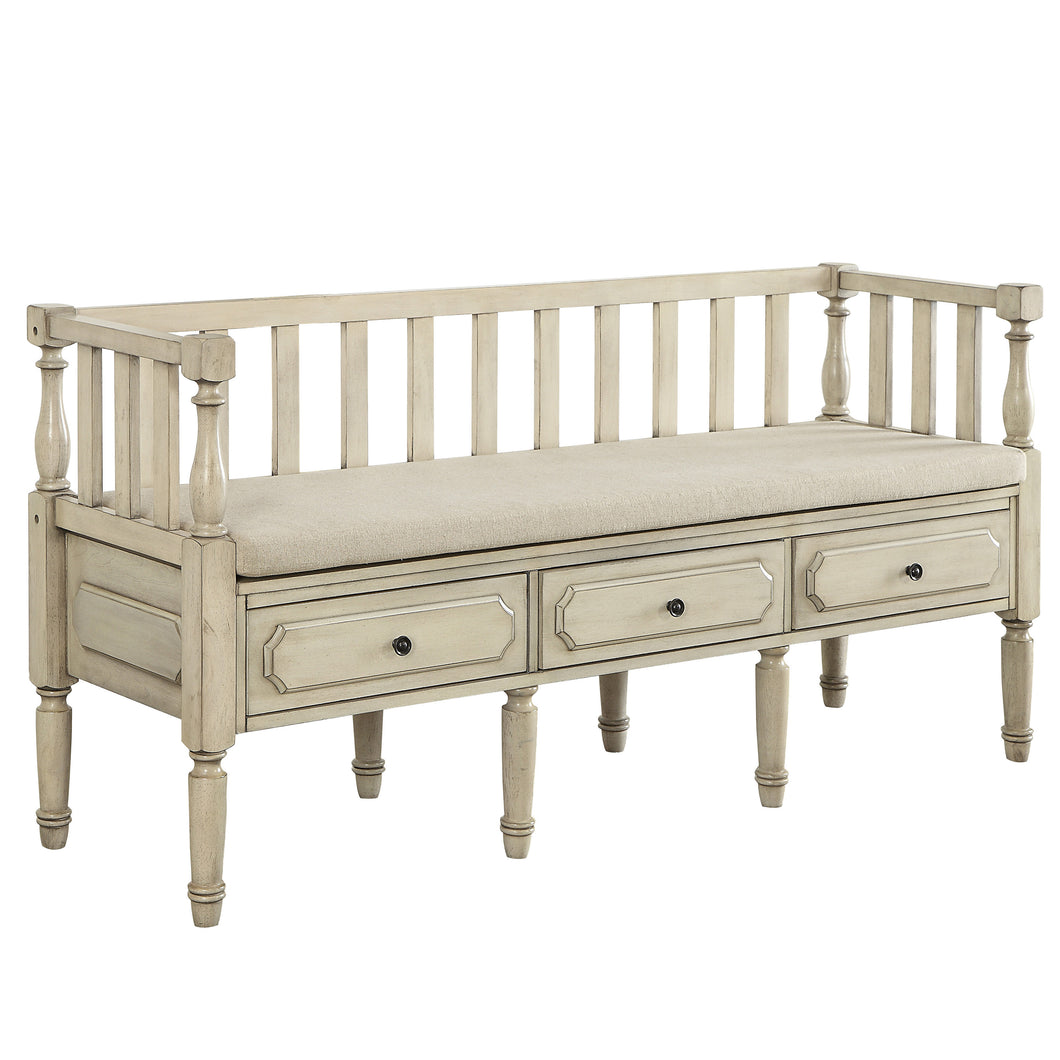 Wisteria Transitional White Storage Bench