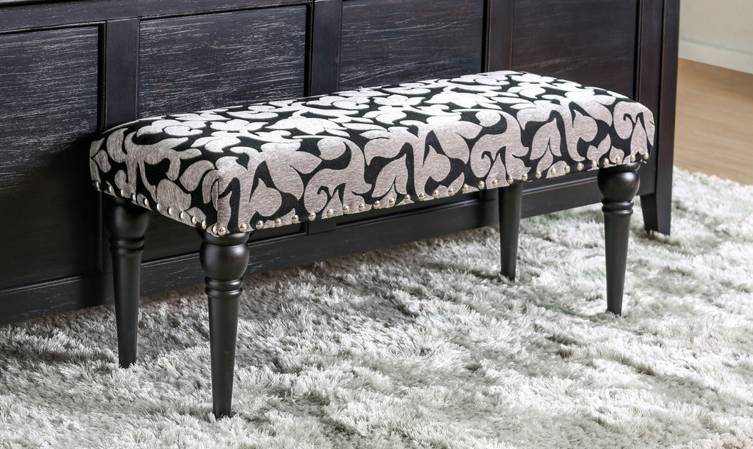 Florencia Contemporary Printed Fabric Black Bench