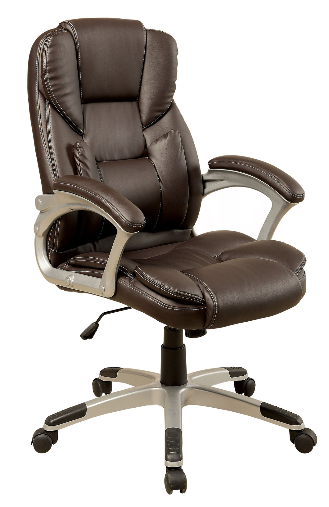 Carlo Transitional Leatherette Office Chair, Brown