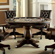Derken Contemporary Round Leatherette Inter-Changeable Brown Game Table