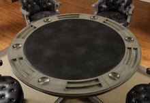 Dessi Contemporary Round Leatherette Inter-Changeable Gray Game Table
