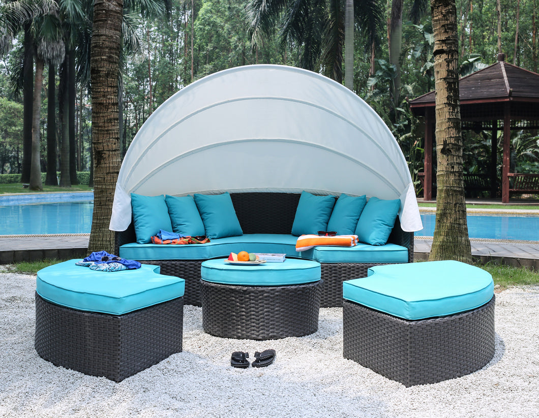 Celeste Patio Canopy with Matching Curved Ottomans
