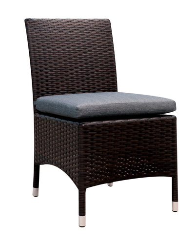 Ladesmis Contemporary Wicker Frame Armless Patio Chair (Set of 2)