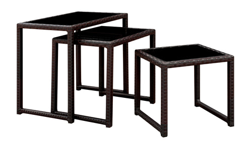 Laritta Contemporary 3-Piece Outdoor Nesting Patio Table Set