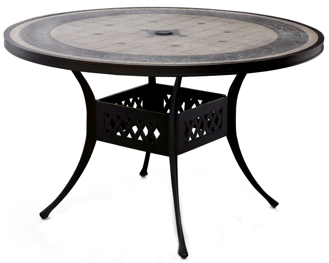Kaleena Transitional Tiled Mosaic Umbrella Ready Round Patio Dining Table