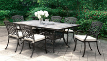Kaleena Transitional Tiled Mosaic Umbrella Ready Rectangular Patio Dining Table