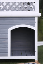 Bryer Transitional Grey and White Lattice Style Pet House